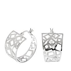 "Sevilla Silver™ 7/8"" Diameter Geometric Hoop Earrings"