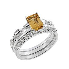 Sevilla Silver™ Citrine and White Topaz 3-piece Ring Set
