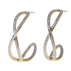 Sevilla Silver™ Diamond-Accented Crossover Hoop Earring