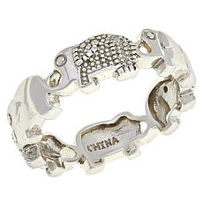 Sevilla Silver™ Diamond-Accented Elephant Band Ring