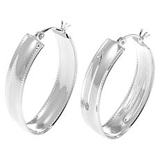Sevilla Silver™ Diamond-Cut Edge Oval Hoop Earrings