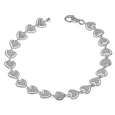 Sevilla Silver™ Diamond Press Heart Station Line Bracelet