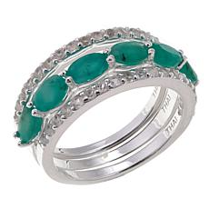 Sevilla Silver™ Emerald and White Topaz 3-piece Ring Set