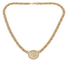 "Sevilla Silver™ Gold-Plated Byzantine ""Coin"" Necklace"