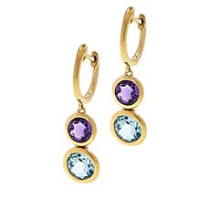 Sevilla Silver™ Gold-Plated Hugger Hoops with Gemstone Drop