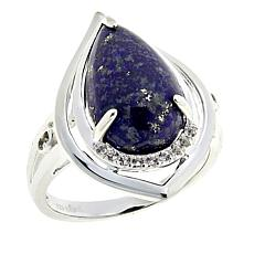 Sevilla Silver™ Lapis and White Topaz Teardrop Ring