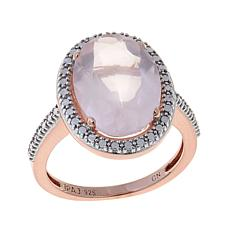 Sevilla Silver™ Oval Rose Quartz Diamond-Accented Ring
