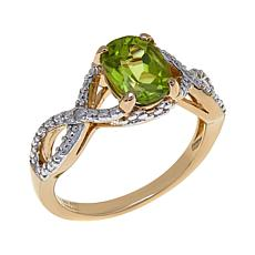 Sevilla Silver™ Peridot Diamond-Accented Ring