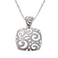 "Sevilla Silver™ Swirl Enhancer Pendant with 18"" Figaro Chain"
