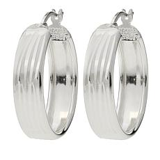 Sevilla Silver™ Vertical Diamond-Cut Hoop Earrings