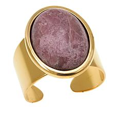 "Shelly Brown ""Maxine"" Oval Gemstone Goldtone Adjustable Ring"