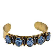 "Shelly Brown ""Protector""  Denim Blue Crystal Goldtone Cuff Bracelet"