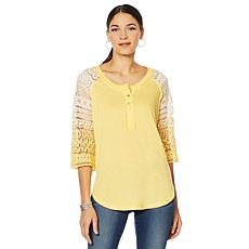 Sheryl Crow Crochet-Sleeve Henley Top