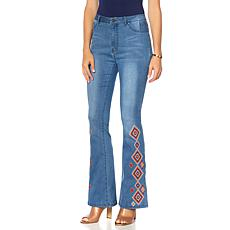 Sheryl Crow Embroidered Flare Denim Jean