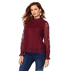 Sheryl Crow Smocked Neck Lace Blouse