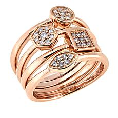 Sheryl Jones 4-piece Diamond Stackable 14K Rose Gold Rings