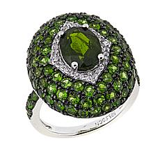 Sheryl Jones Fine Jewelry 4.54ctw Chrome Diopside and Zircon Dome Ring