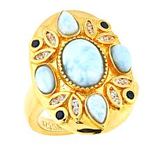 Sheryl Jones Larimar, Zircon and Black Spinel Ring