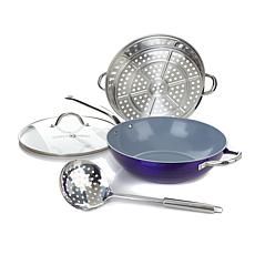 Simply Ming 4pc Diamond Platinum Nonstick Wok Set