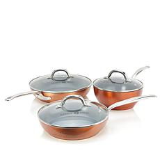 Simply Ming Elite Hammered Ceramic Nonstick 6-piece Cookware Set