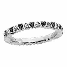 Simply Stacks™ Sterling Silver Black & White Diamond Hearts Band Ring