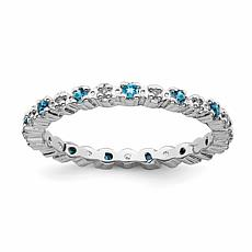 Simply Stacks™ Sterling Silver Gemstone and Diamond Eternity Ring