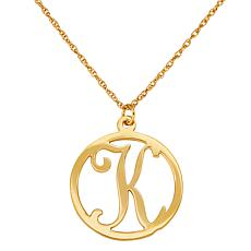 "Single Initial Circle Pendant with 20"" Rope Chain"