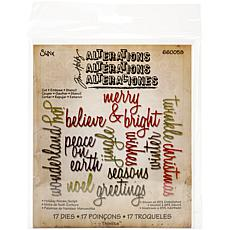 Sizzix Thinlits Dies By Tim Holtz 17-pack - Script Holiday Words