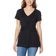 Skinnygirl Carrie Twist-Front Short-Sleeve Top