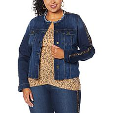 Skinnygirl Collarless Fray Denim Jacket with Stripe
