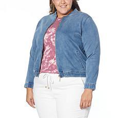 Skinnygirl Knit Denim Bomber Jacket