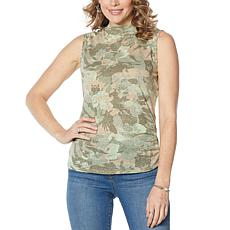 Skinnygirl Knit Gauze Mock-Neck Tank