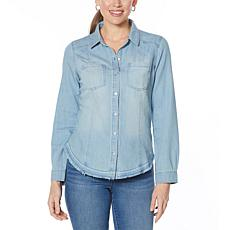 Skinnygirl Korey Denim Button-Down Top