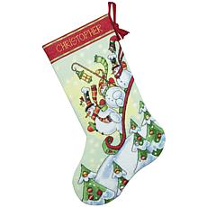 Sledding Snowmen Cross-Stitch Stocking Kit- 14-Count