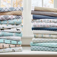 Sleep Philosophy Cozy Flannel Cotton Sheet Set - Tan Plaid -  Full