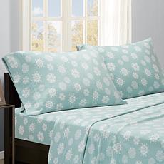 Sleep Philosophy Micro Fleece Sheet Set - Blue Snowflake - Twin