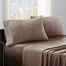 Sleep Philosophy Micro Fleece Sheet Set - Brown Diamond - King