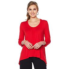 Slinky® Brand 2-pack Ruched-Neck Sharkbite-Hem Knit Tunics