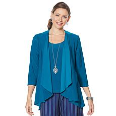 Slinky® Brand 2-piece Drape-Front Peplum Jacket and Tank Set
