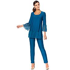 Slinky® Brand 2-piece Lace Trim Tunic and Pant Set