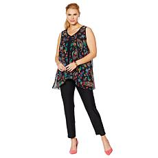 Slinky® Brand 2-piece Sleeveless Flyaway Tunic and Skinny Pant