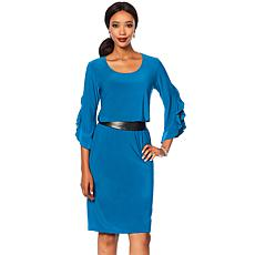 Slinky Brand 2pc Cascading Ruffle Tunic and Pencil Skirt Set
