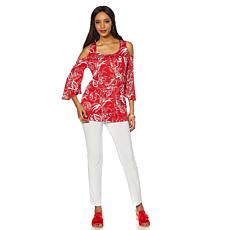 Slinky Brand 2pc Printed Cold-Shoulder Tunic and Pant
