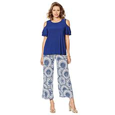Slinky® Brand 2pc Ruffle Sleeve Tunic and Printed Pant