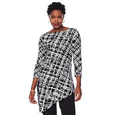 Slinky® Brand 2pk 3/4-Sleeve Print and Solid Angle-Hem Tunics