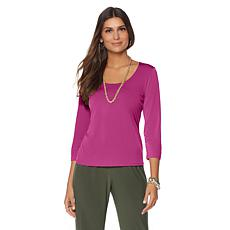 Slinky® Brand 2pk 3/4-Sleeve Scoop-Neck Tops