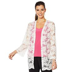 Slinky® Brand 3/4 Bell-Sleeve Open Front Lace Jacket