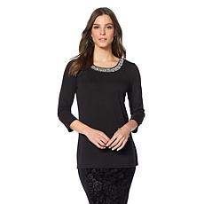 Slinky® Brand 3/4-Sleeve Embellished-Neck Tunic