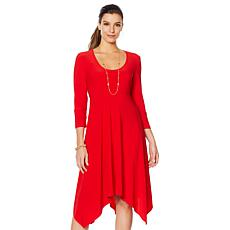 Slinky® Brand 3/4-Sleeve Hanky Hem Dress with Empire Waist
