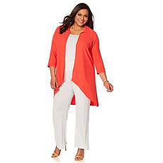 Slinky® Brand 3/4-Sleeve Hi-Low Duster with Collar